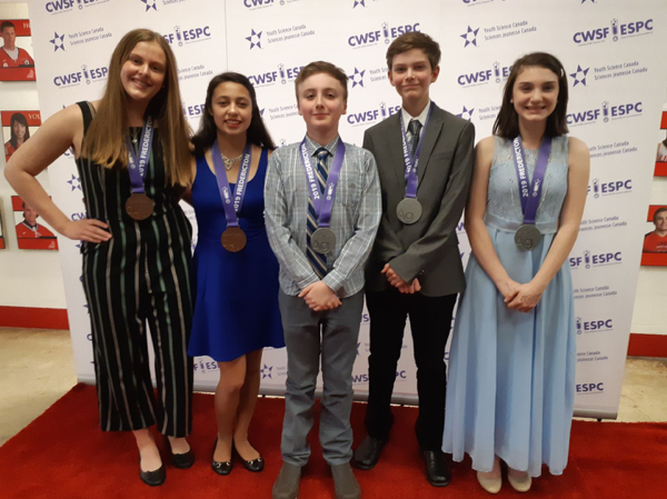 Picture Left to right: Medal winners Abby Chapman, Christianne Riveroll, Joe Moak, Davis Nicholson and Jannah McCallum at the 2019 Canada-Wide Science Fair (credit: photo from Lise Deveau)
