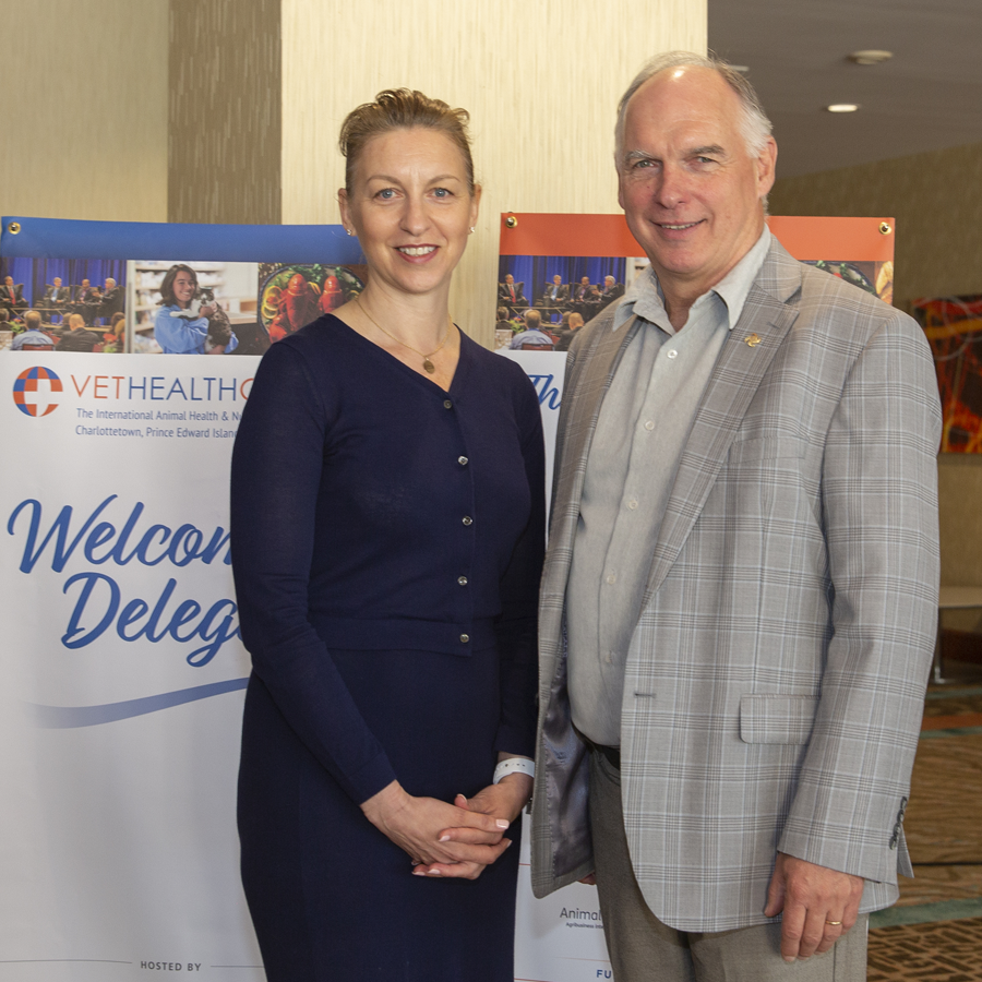 MicroSintesis CEO Hannah McIver with PEI BioAlliance Executive Director Rory Francis, during VetHealth Global 2019 at the PEI Convention Centre, Delta Prince Edward. Photo credit: Berni Wood