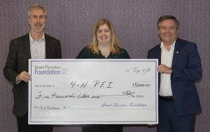 [Left to right] Cheque presentation with Dr. Russ Kerr, Chair, PEI BioAlliance; Rayanne Frizzell, Administrative Director, 4-H PEI Provincial Council; and Blair Dunn, incoming Managing Director (PEI), Grant Thornton LLP.